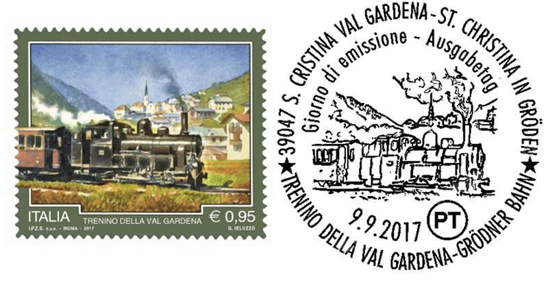 Briefmarke und Ersttagsstempel Grönder Bahn