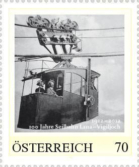 Briefmarke 100 Jahre Seilbahn Lana-Vigljoch