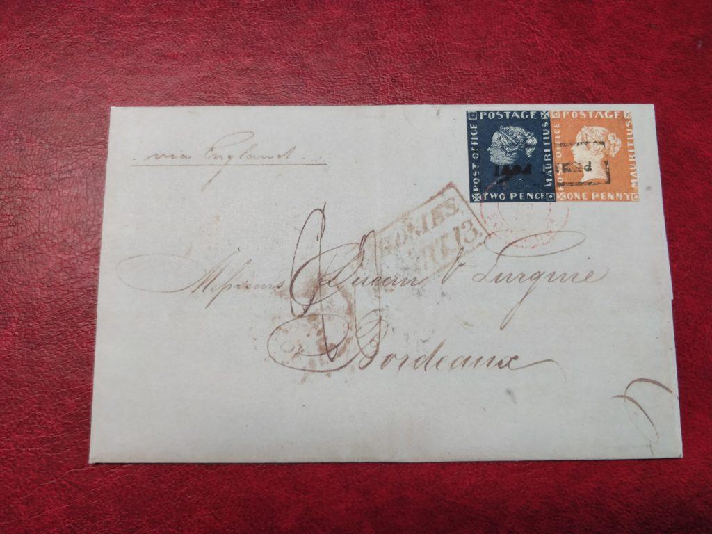 Bordeaux Brief mit blauer und roter Mauritius